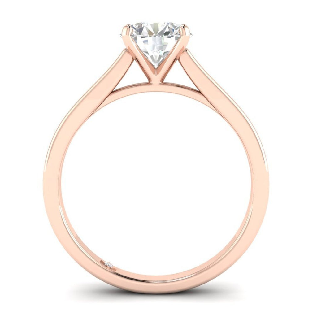 EN-SO-14-NAT-D-SI1-EX Rose Gold Flat Shank Cathedral Solitaire Round Diamond Engagement Ring - 0.60 carat D/SI1 100% Natural