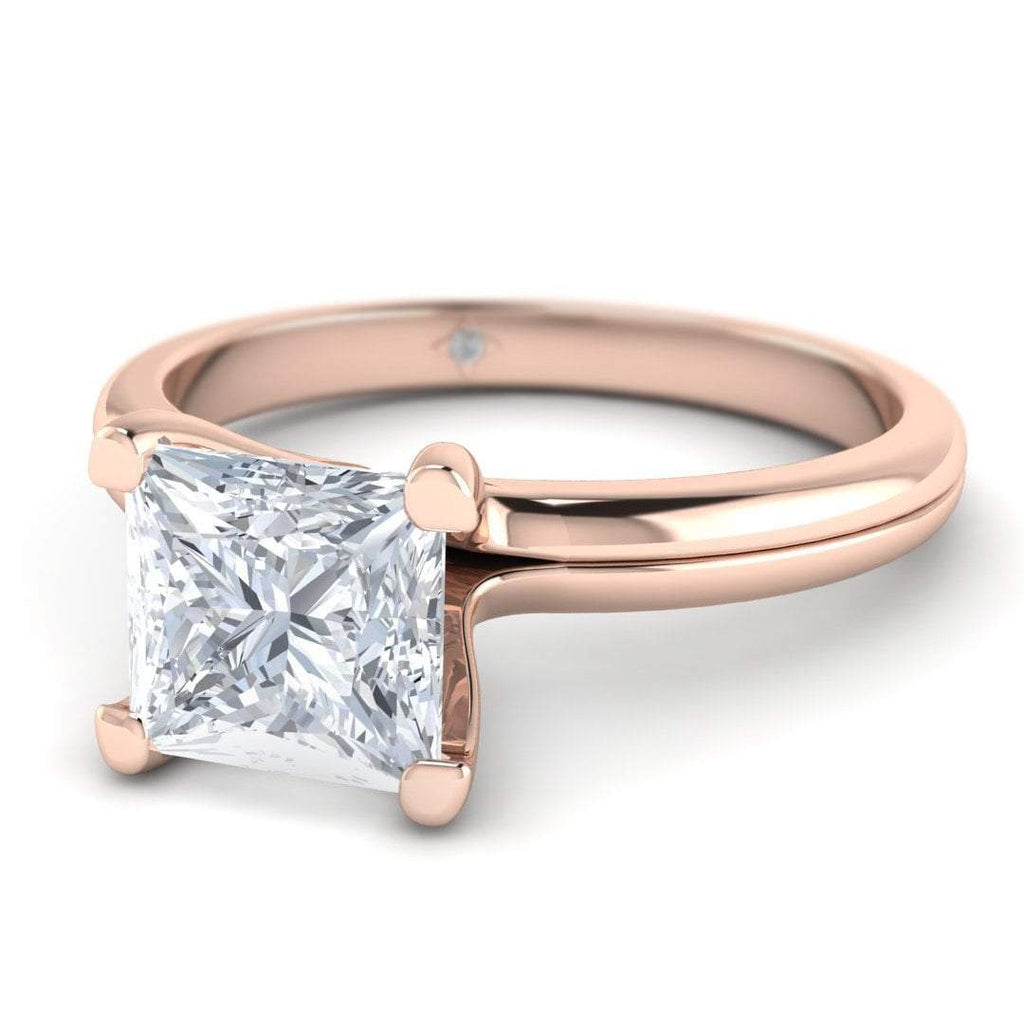 Rose Gold 0.50 carat D/SI1 Princess Cut Diamond Engagement Ring Floating 4-Prong Solitaire - Custom Made