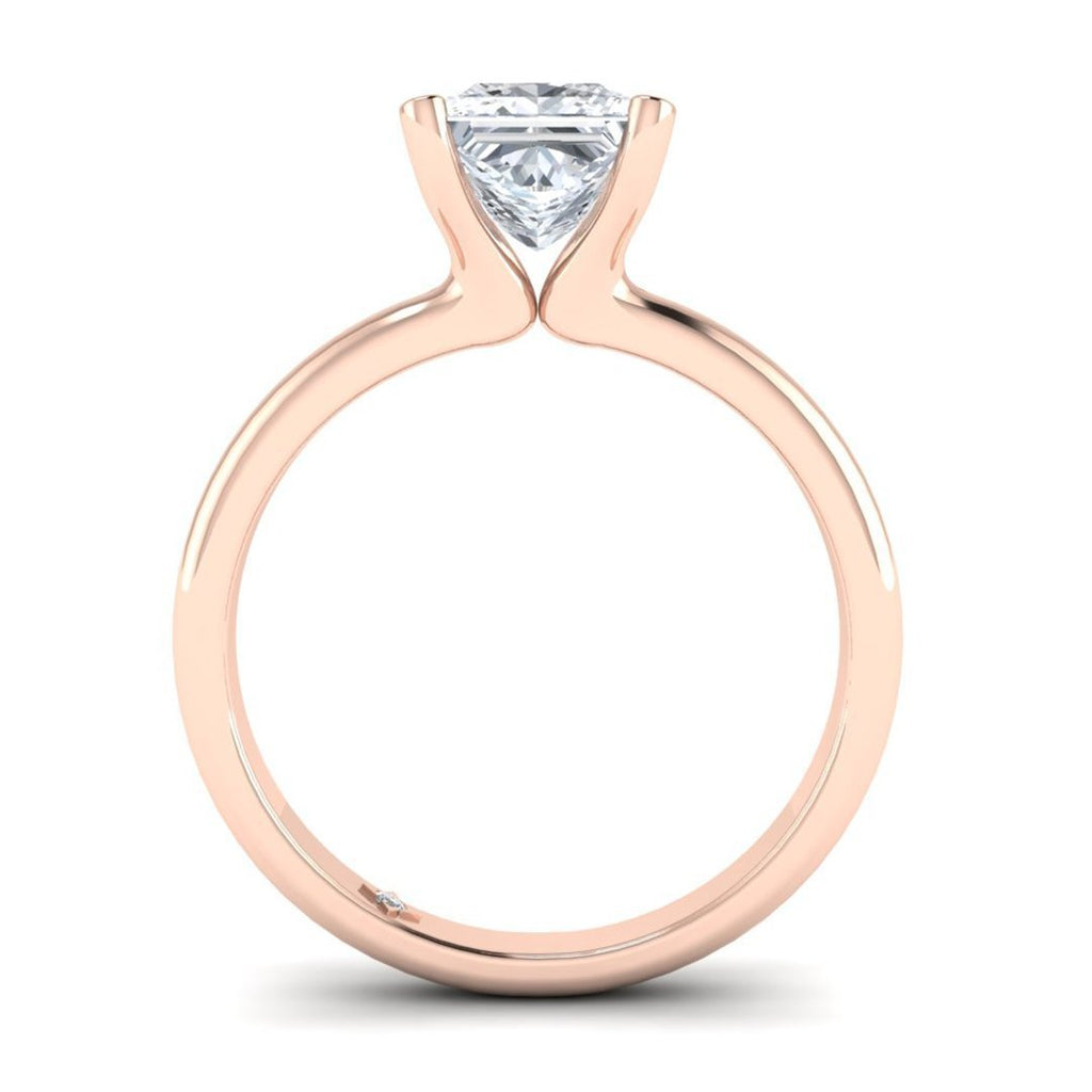 Rose Gold 2.00 carat D/SI1 Princess Cut Diamond Engagement Ring Floating 4-Prong Solitaire - Custom Made