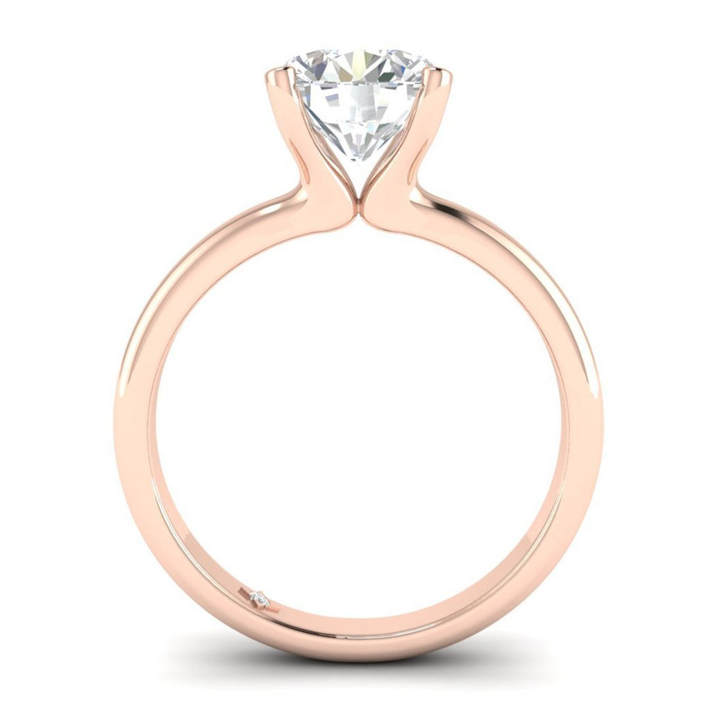 EN-SO-14-NAT-D-SI1-EX Rose Gold Floating 4-Prong Solitaire Round Diamond Engagement Ring - 0.60 carat D/SI1 100% Natural