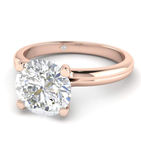 Rose Gold Floating 4-Prong Solitaire Round Diamond Engagement Ring - 0.50 carat D/SI1 100% Natural - Angle View