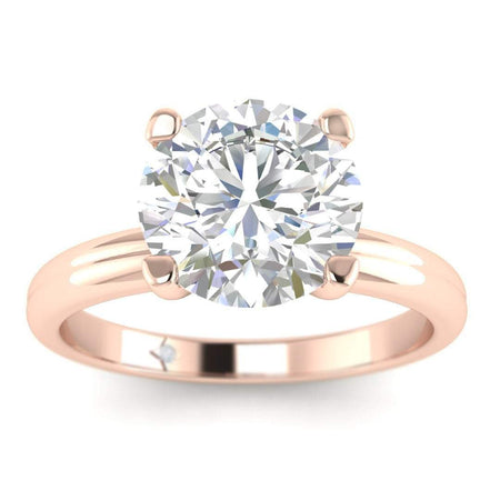 EN-SO-14-CE-D-SI1-EX Rose Gold Floating 4-Prong Solitaire Round Diamond Engagement Ring - 1.00 carat D/SI1 Clarity Enhanced