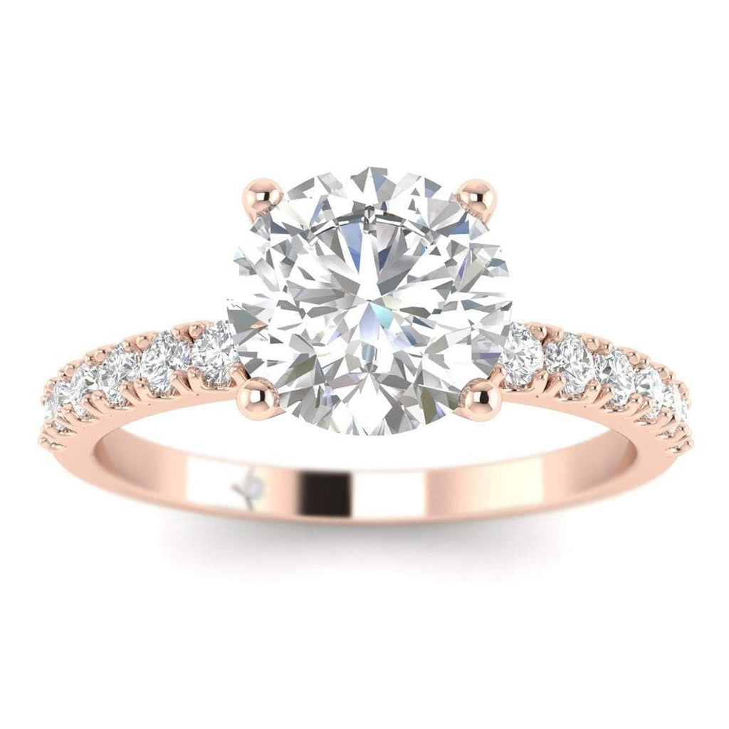 EN-WA-14-NAT-D-SI1-EX Rose Gold Micro Pave 4-Prong Modern Round Diamond Engagement Ring - 0.60 carat D/SI1 100% Natural