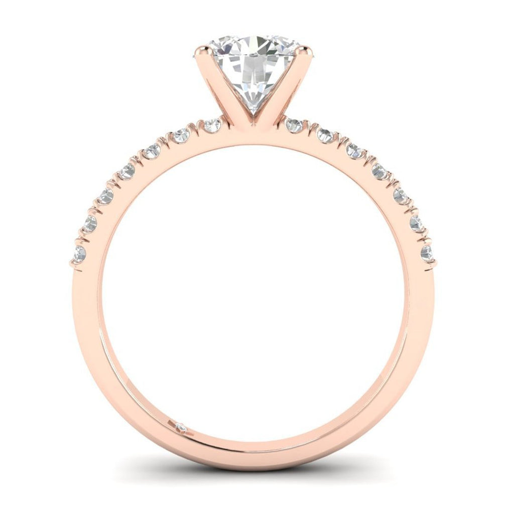 Rose Gold Micro Pave 4-Prong Modern Round Diamond Engagement Ring - 0.90 carat D/SI1 100% Natural - Custom Made