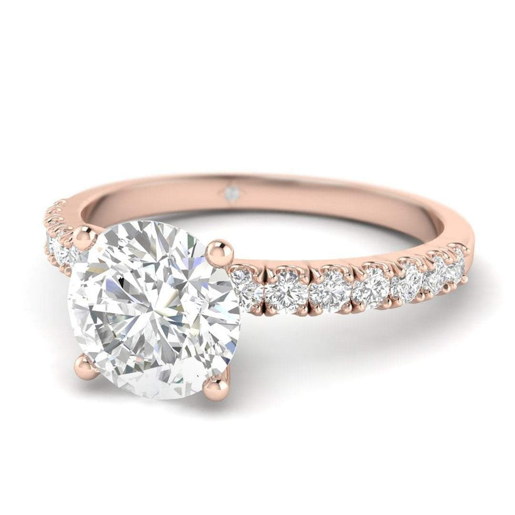 Rose Gold Micro Pave 4-Prong Modern Round Diamond Engagement Ring - 2.00 carat D/SI1 100% Natural - Custom Made