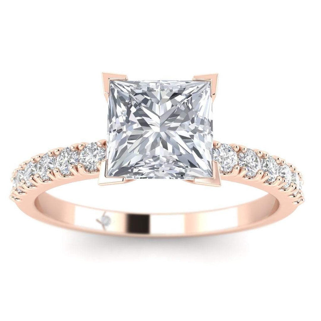 EN-WA-14-CE-D-SI1-EX Rose Gold Micro Pave 4-Prong Square Princess Cut Diamond Engagement Ring - 0.70 carat D/SI1 Clarity Enhanced