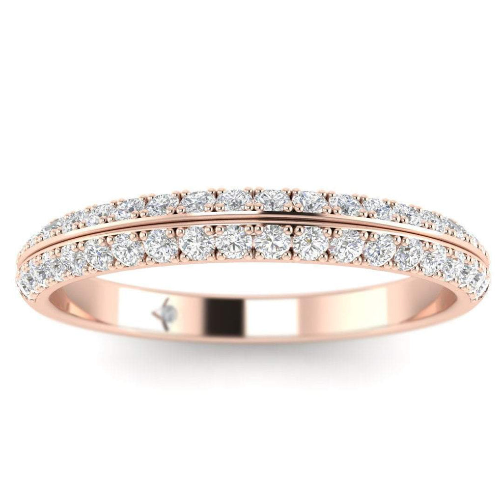 Rose Gold Pave 2-Row Modern Diamond Eternity Band Ring - Custom Made
