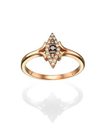 Mandala Rose Gold Ring with Black Diamonds - Vintage Split Shank