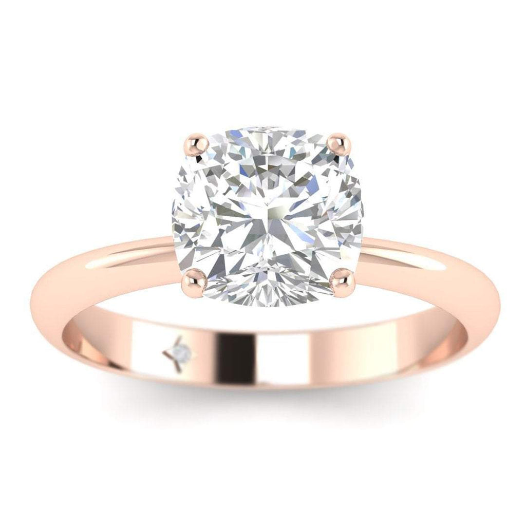 0.80 carat D/SI1 Rose Gold Cushion Diamond Engagement Ring Timeless 4-Prong Tapered - Custom Made