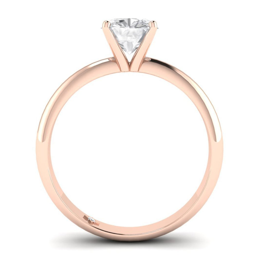 0.90 carat D/SI1 Rose Gold Cushion Diamond Engagement Ring Timeless 4-Prong Tapered - Custom Made