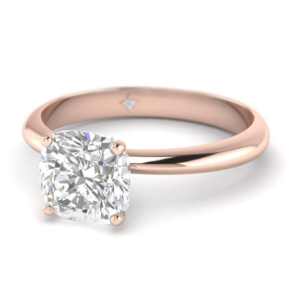 1.75 carat D/SI1 Rose Gold Cushion Diamond Engagement Ring Timeless 4-Prong Tapered - Custom Made