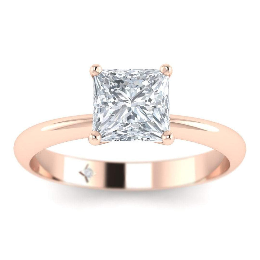 Rose Gold 0.70 carat D/SI1 Princess Cut Diamond Engagement Ring Timeless 4-Prong Tapered - Custom Made