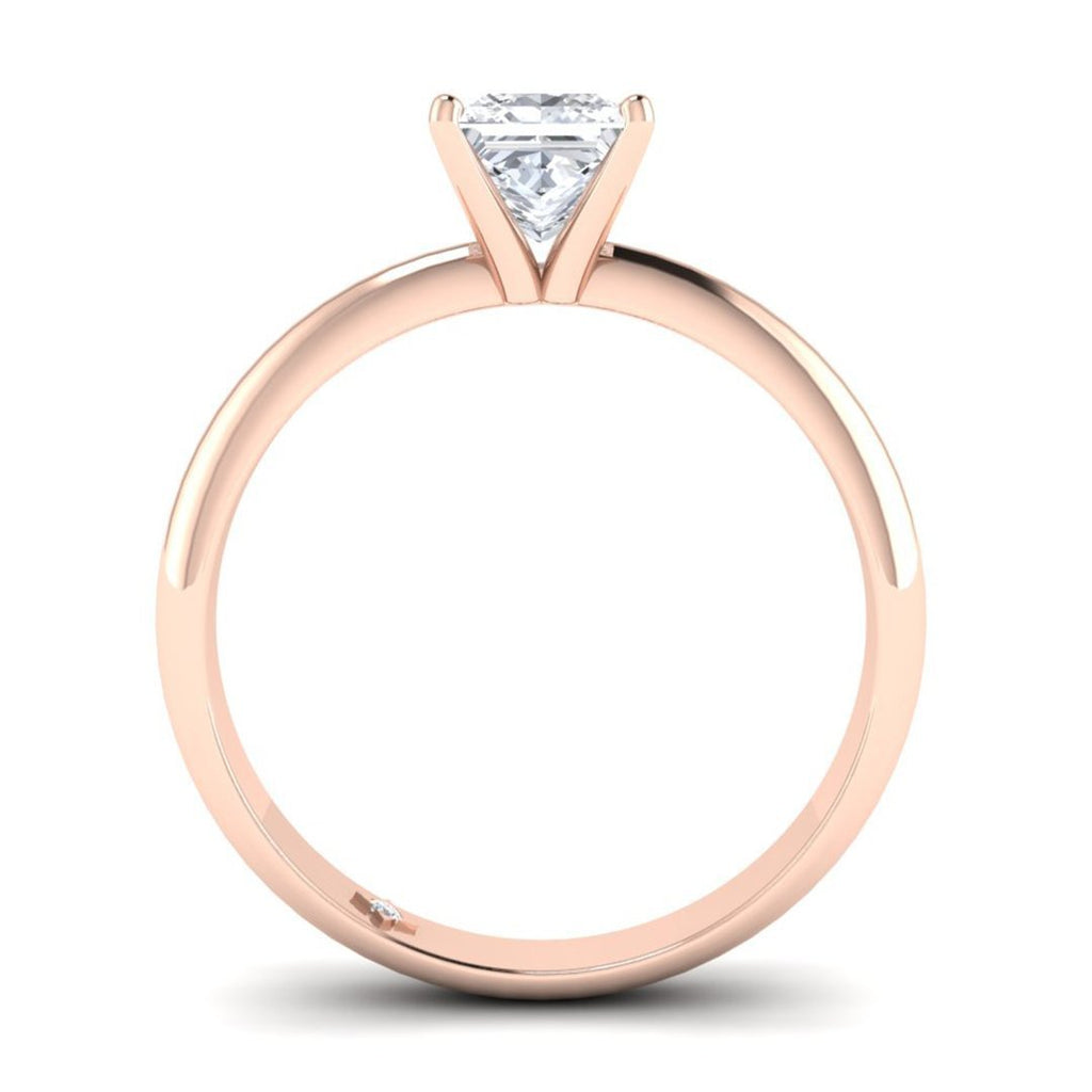Rose Gold 0.80 carat D/SI1 Princess Cut Diamond Engagement Ring Timeless 4-Prong Tapered - Custom Made
