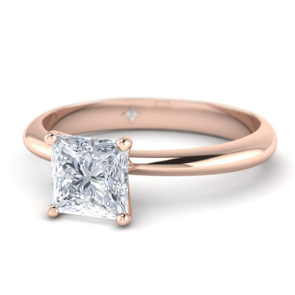 Rose Gold 0.90 carat D/SI1 Princess Cut Diamond Engagement Ring Timeless 4-Prong Tapered - Custom Made