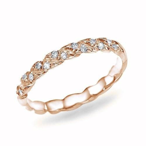 Rose Gold Twisted 0.11ct Diamond Wedding Ring Band - Custom Made