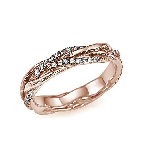 Rose Gold Twisted Vines 0.22ct Diamond Wedding Ring - Custom Made