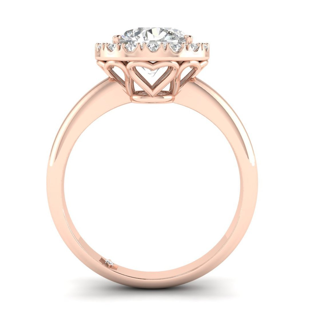 b3aa5e0bf986b Rose Gold Unique Hearts Halo Round Diamond Engagement Ring - 0.70 carat  D/SI1 Clarity Enhanced