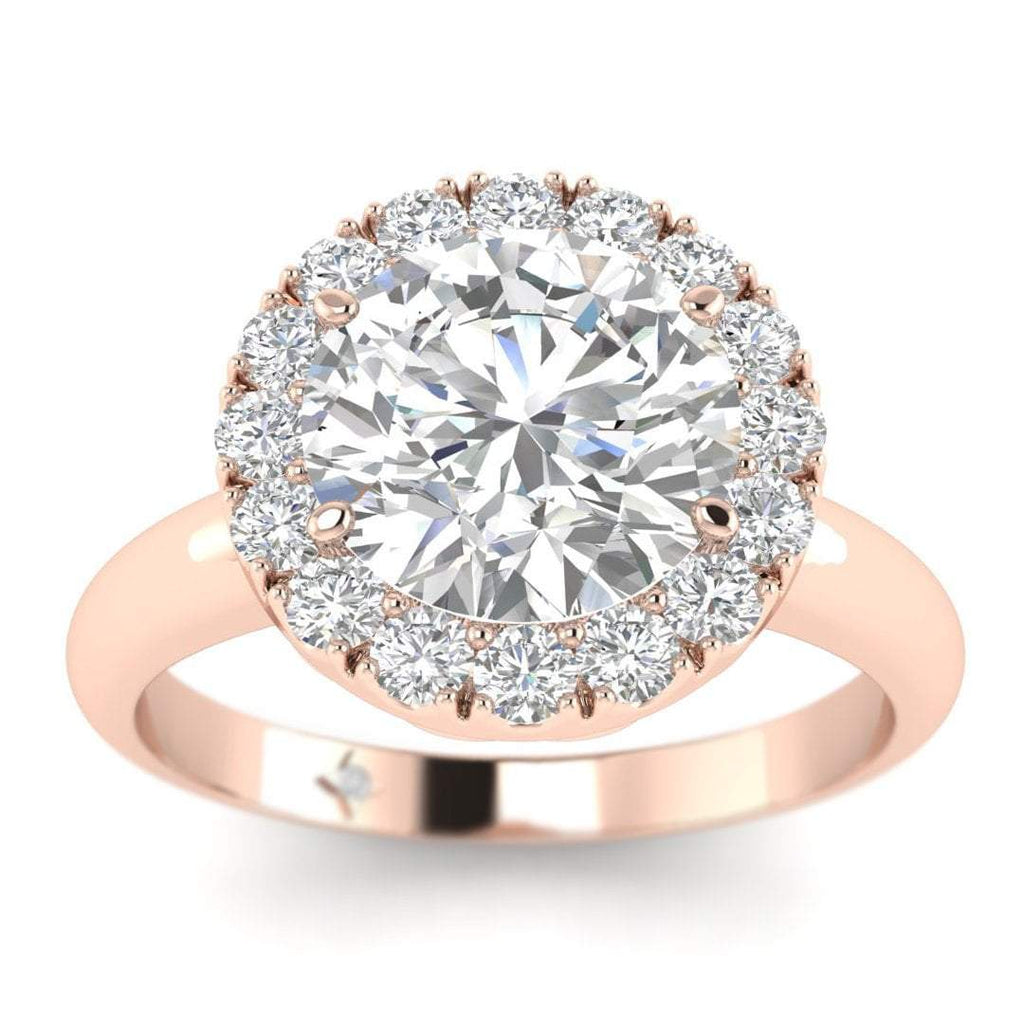 10f252b872ad7 Rose Gold Unique Hearts Halo Round Diamond Engagement Ring - 2.00 carat  D/SI1 100% Natural