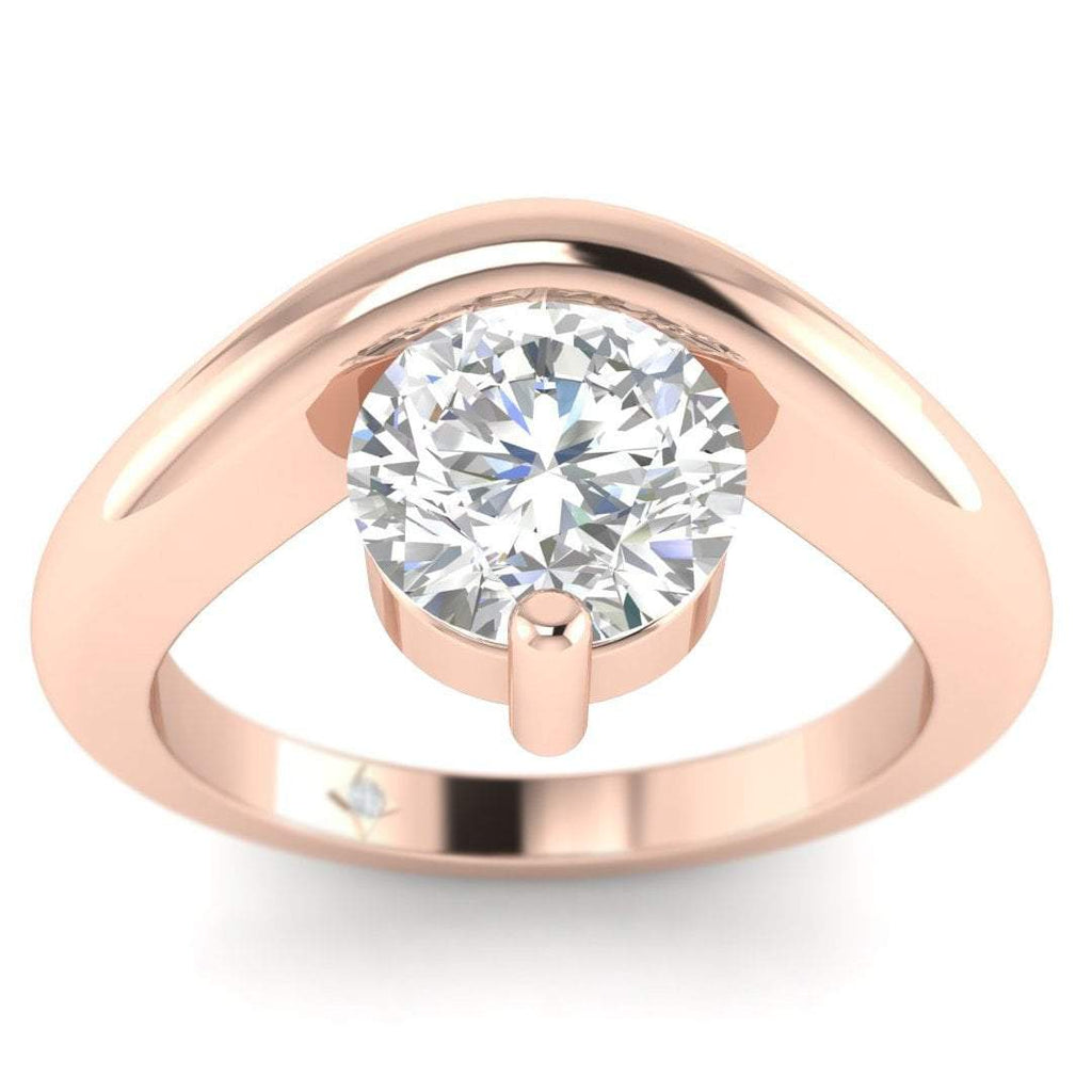 EN-SO-14-NAT-D-SI1-EX Rose Gold Unusual Floating Designer Round Diamond Engagement Ring - 0.60 carat D/SI1 100% Natural
