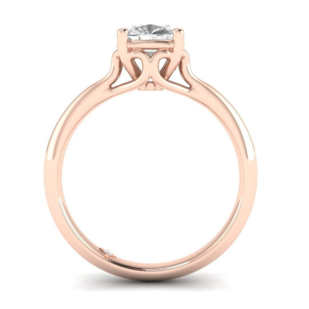 0.90 carat D/SI1 Rose Gold Cushion Diamond Engagement Ring Vintage Antique-Style Cathedral - Custom Made