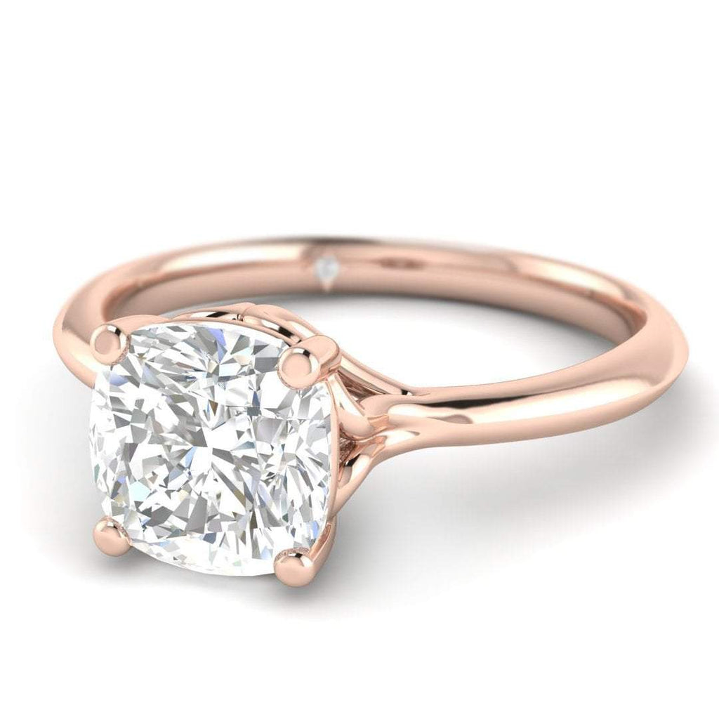 1.75 carat D/SI1 Rose Gold Cushion Diamond Engagement Ring Vintage  Antique,Style Cathedral