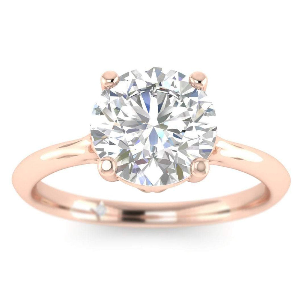 EN-SO-14-CE-F-SI2-EX Rose Gold Vintage Antique-Style Cathedral Round Diamond Engagement Ring - 0.50 carat F/SI2 Clarity Enhanced