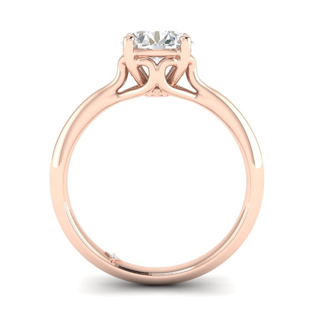 EN-SO-14-NAT-D-SI1-EX Rose Gold Vintage Antique-Style Cathedral Round Diamond Engagement Ring - 0.60 carat D/SI1 100% Natural