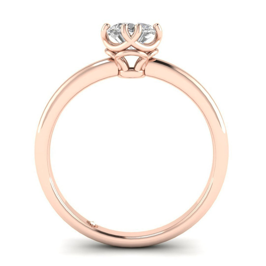 EN Rose Gold Vintage Antique-Style Cushion Diamond Engagement Ring
