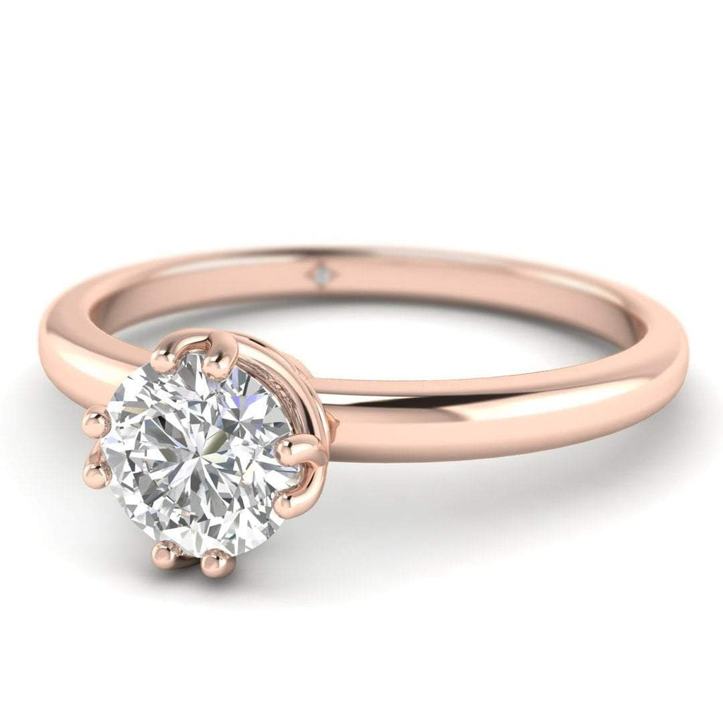 EN Rose Gold Vintage Antique-Style Round Diamond Engagement Ring