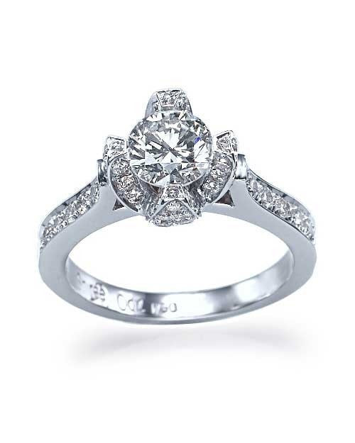 Engagement Rings Rose Shaped Ring Mounting In White Gold Settings Only