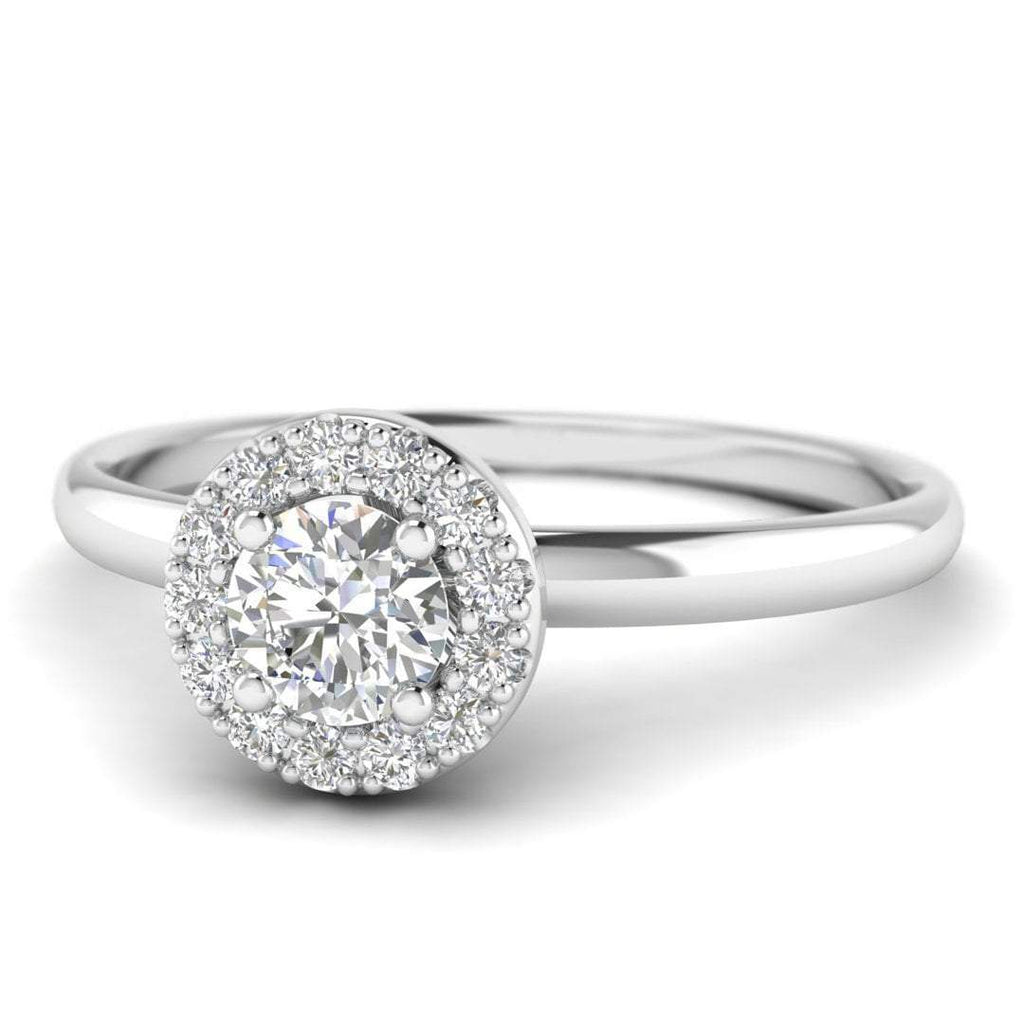 Round Brilliant Diamond Halo Engagement Ring in 14K White Gold - 0.50 carat - Custom Made