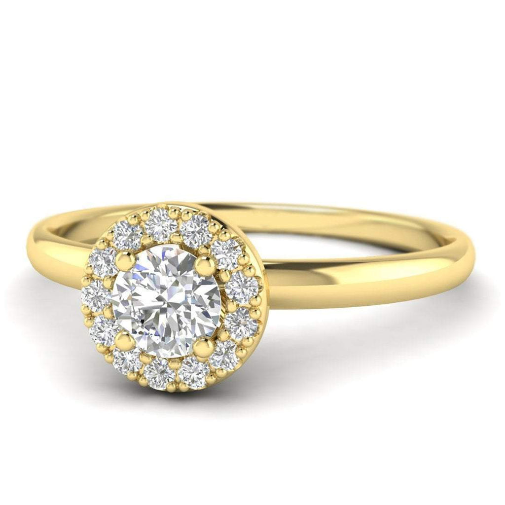 Round Brilliant Diamond Halo Engagement Ring in 14K Yellow Gold - 0.30 carat - Custom Made