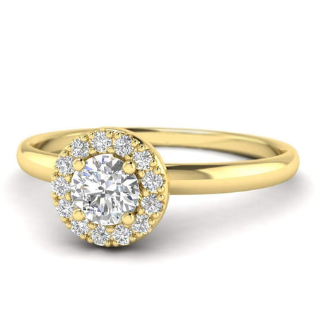 EN-WA-14-NAT-D-SI1-EX Round Brilliant Diamond Halo Engagement Ring in 14K Yellow Gold - 0.30 carat