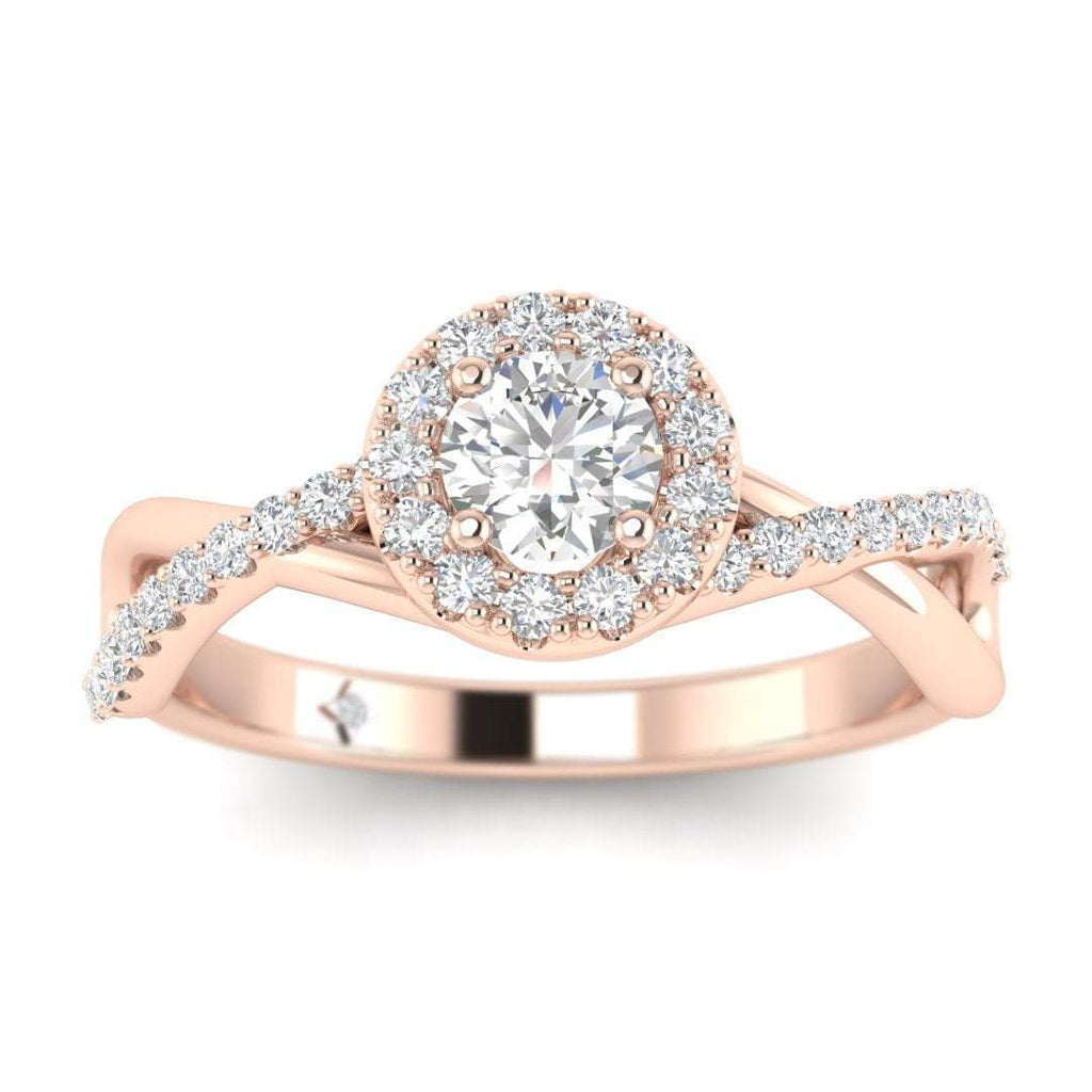 Round Brilliant Diamond Infinity Pave Halo Engagement Ring in 14K Rose Gold - 0.15 carat - Custom Made