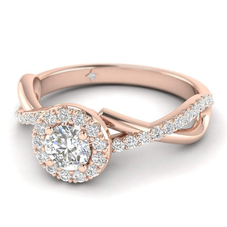 EN-WA-14-NAT-D-SI1-EX Round Brilliant Diamond Infinity Pave Halo Engagement Ring in 14K Rose Gold - 0.15 carat