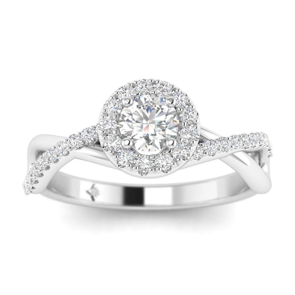 Round Brilliant Diamond Infinity Pave Halo Engagement Ring in 14K White Gold - 0.20 carat - Custom Made