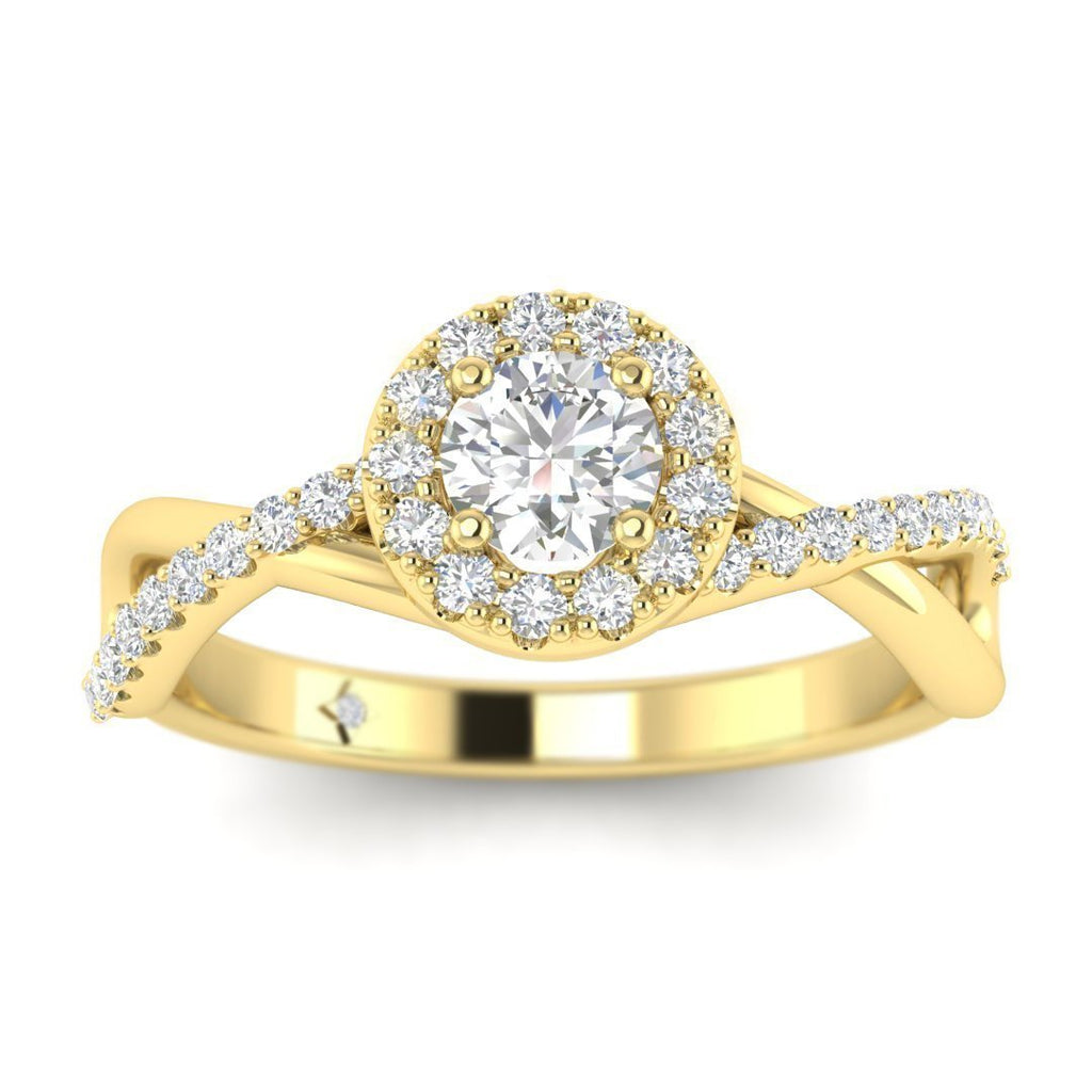Round Brilliant Diamond Infinity Pave Halo Engagement Ring in 14K Yellow Gold - 0.25 carat - Custom Made