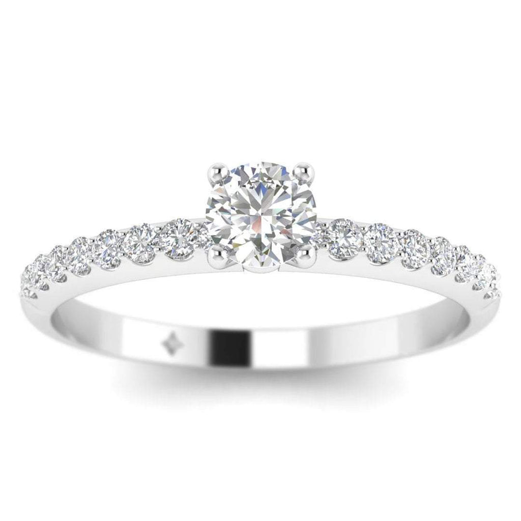 Round Brilliant Diamond Pave Engagement Ring in 14K White Gold - 0.25 carat - Custom Made
