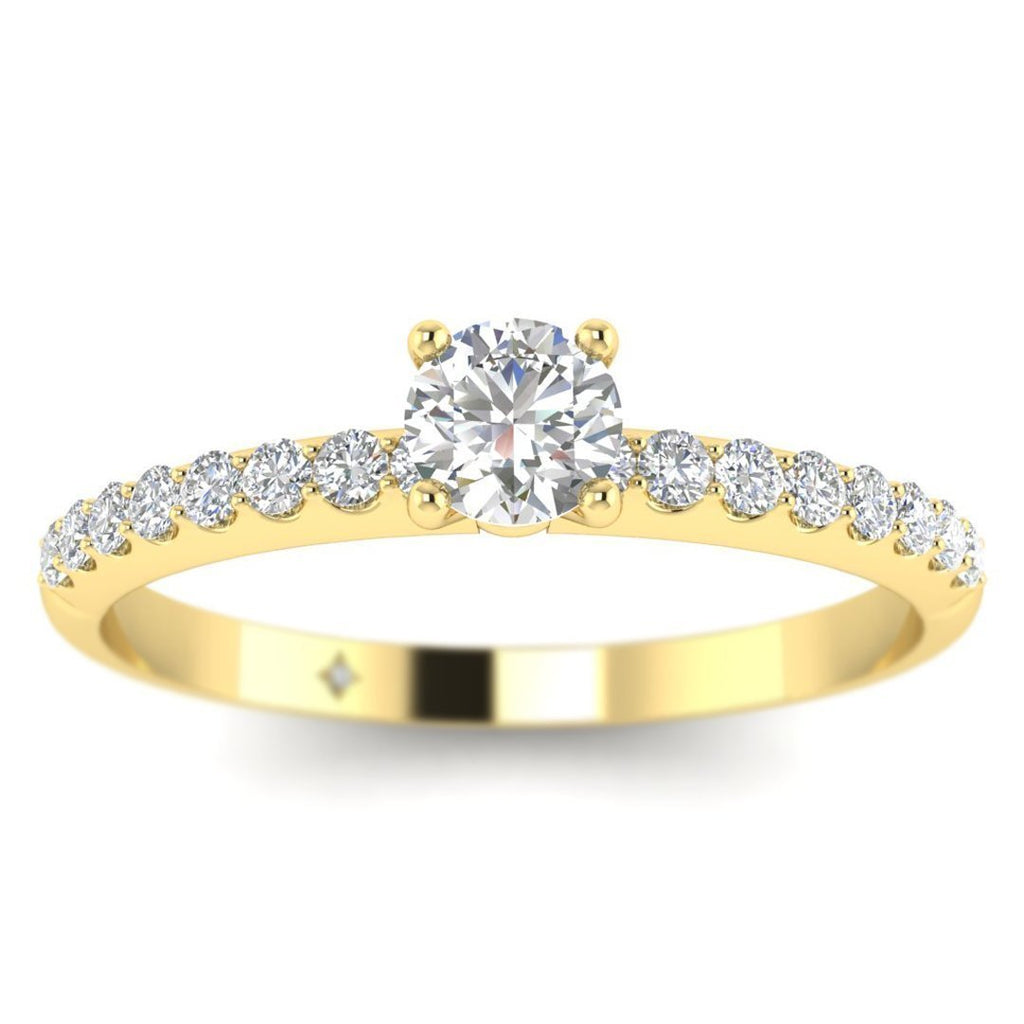 Round Brilliant Diamond Pave Engagement Ring in 14K Yellow Gold - 0.40 carat - Custom Made