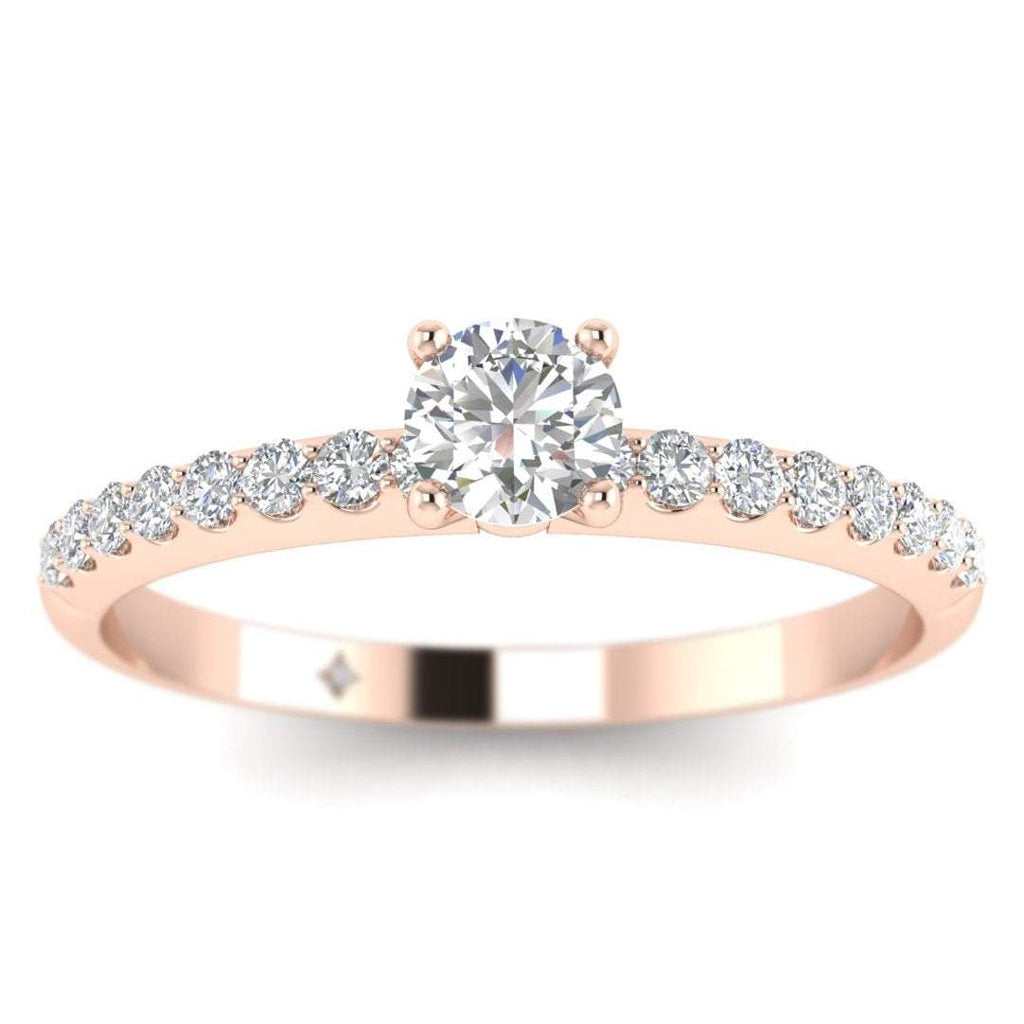 Round Brilliant Diamond Pave Engagement Ring in Rose Gold - Custom Made