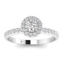 EN-WA-14-NAT-D-SI1-EX Round Brilliant Diamond Pave Halo Engagement Ring in 14K White Gold - 0.25 carat