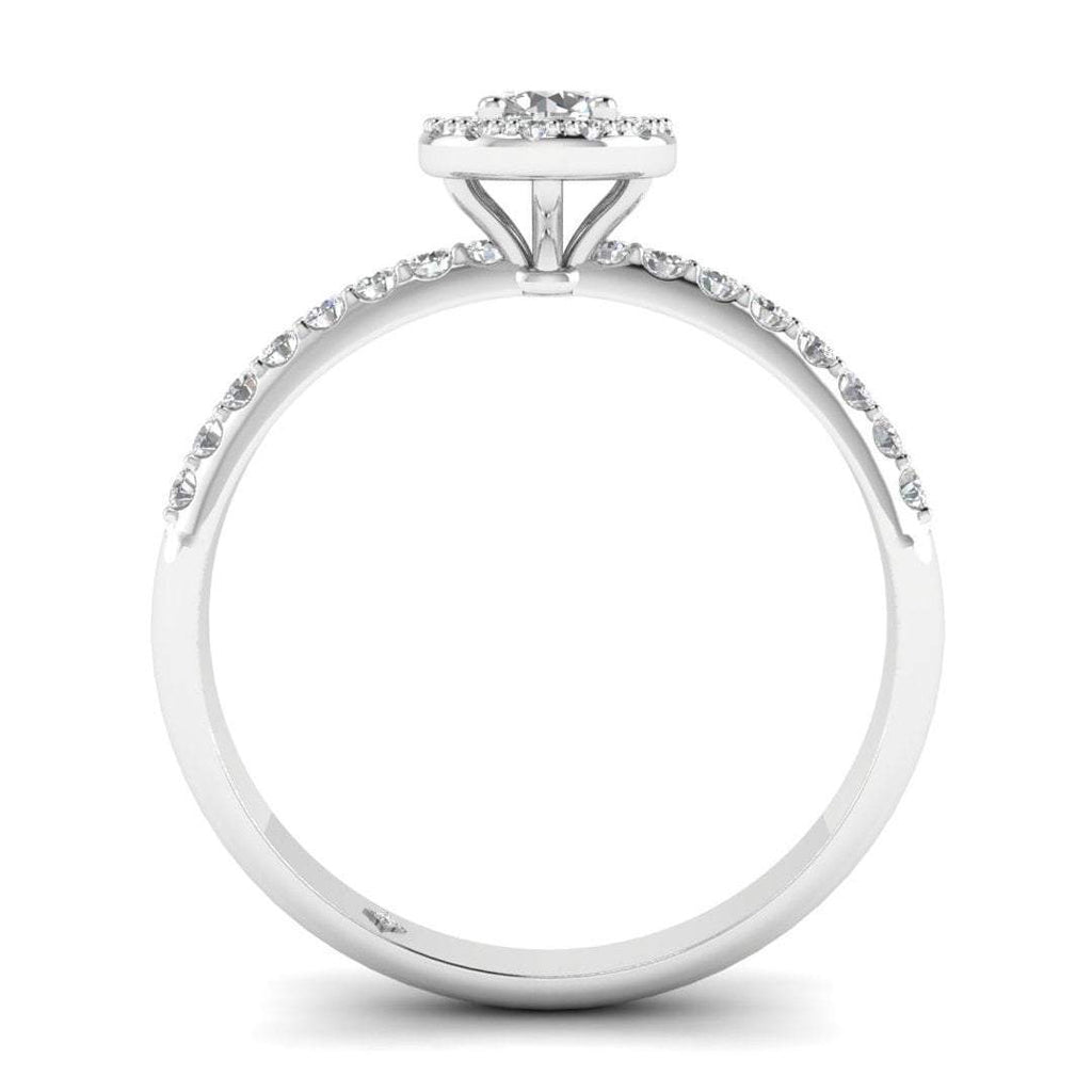 Round Brilliant Diamond Pave Halo Engagement Ring in 14K White Gold - 0.25 carat - Custom Made