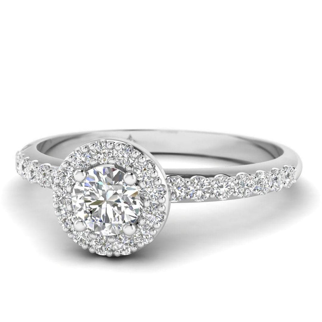 Round Brilliant Diamond Pave Halo Engagement Ring in 14K White Gold - 0.50 carat - Custom Made