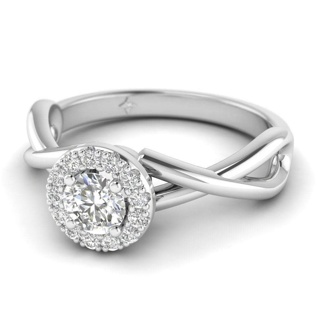 Round Brilliant Diamond Twist Halo Engagement Ring in 14K White Gold - 0.30 carat - Custom Made