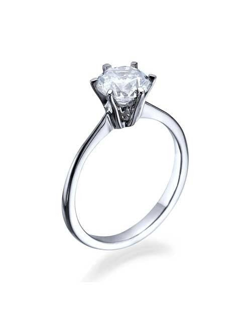 Engagement Rings Round Cut White Gold Engagement Rings - Classic  - 1ct Diamond