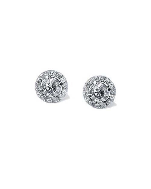 Earrings Round Diamond Halo 4-Prong Stud Earrings in White Gold - 0.60 carat