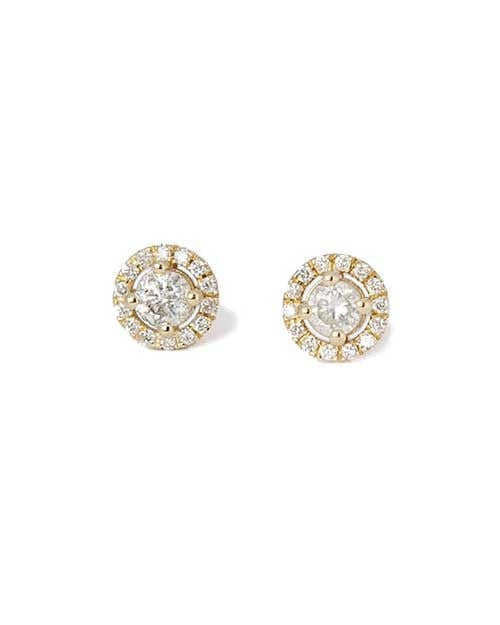 Earrings Round Diamond Halo 4-Prong Stud Earrings in Yellow Gold - 0.60 carat