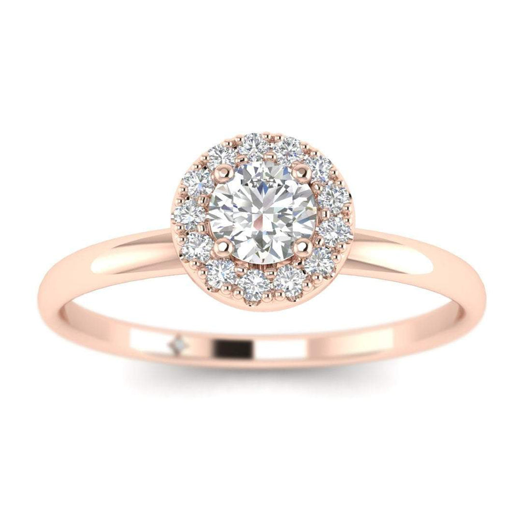 Round Diamond Halo Engagement Ring in Rose Gold - Custom Made
