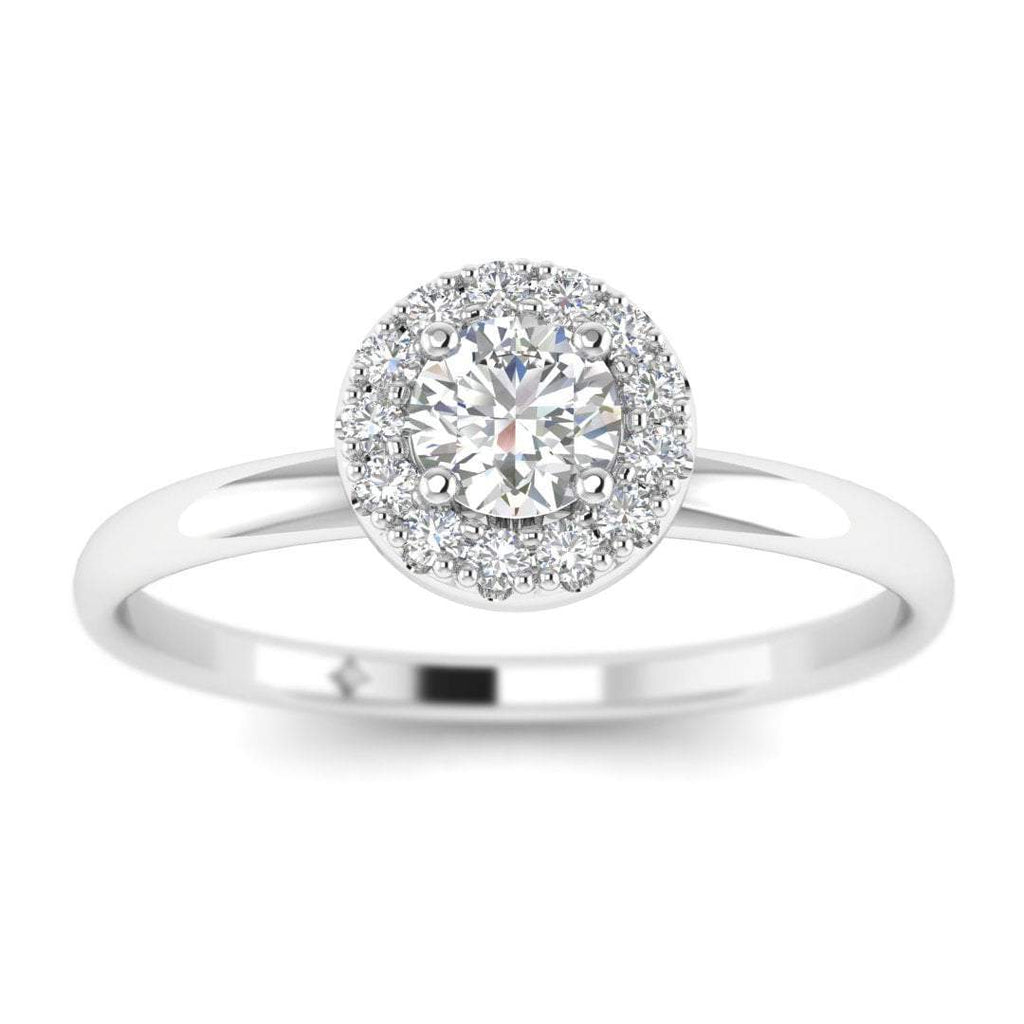 Round Diamond Halo Engagement Ring in White Gold - Custom Made