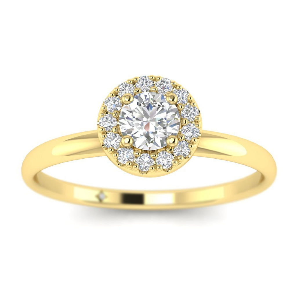Round Diamond Halo Engagement Ring in Yellow Gold - Custom Made